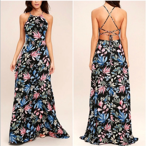 e90cf26b13 Lulu s Dresses   Skirts - Lulu s Loving Ways Black Floral Maxi Dress